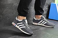 Мужские кроссовки в стиле Adidas La Trainer, сетка, замша, серые 46 (29,4 см)