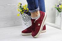Женские кроссовки в стиле Converse, бордовые 36(23,2 см), размеры:36,38,39