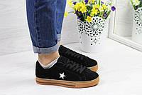 Женские кроссовки в стиле Converse, черные 39(25 см), последний размер