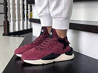 Женские кроссовки в стиле Adidas Y-3 Kaiwa, замша, бордовые с черным 41(26,2 см), последний размер
