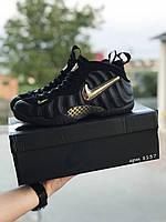 Мужские кроссовки в стиле Nike Air Foamposite Pro, кожа, текстиль, черные с золотом 46(28,7 см)