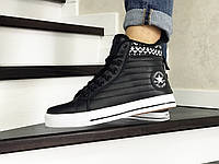 Мужские кроссовки в стиле Converse All Star, кожа, черные с белым 44(28,3 см), размеры:44,46