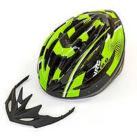 Шлем защитный велошлем с механизмом регулировки черно-зеленый HB13