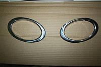 Накладки на противотуманки для тюнинга снаружи Nissan Qashqai 2010-2020 Кармос нерж.