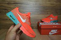 Женские кроссовки в стиле Nike Thea, оранжевые вязаные 37 (23,5 см по стельке)