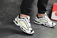 Мужские кроссовки в стиле Nike Air Max, сетка, кожа, пена, силиконовые подушки, белые с салатовым 43 (27,7 см)