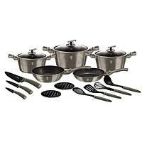 Набор посуды Berlinger Haus Metallic Line CARBON Edition BH 6163 (17 предметов)