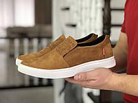 Мужские кроссовки в стиле Levis, натуральная кожа нубук, горчичные*** 40(26,5 см), в наличии:40,44,45