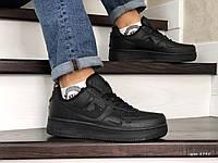 Мужские кроссовки в стиле Nike Air Force, кожа, прошитые, черные 43(27,7 см), в наличии:43,44,46