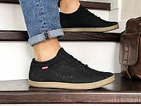 Мужские кроссовки в стиле Levi's, кожа, черные *** 45 (30 см)