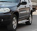 Пороги боковые (подножки-площадка) Chevrolet Niva 2009+ (Ø60), фото 3