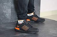 Мужские кроссовки в стиле Adidas ZX 750, кожа, черные с оранжевым 41(27 см), в наличии:41,44,45,46