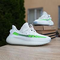 Женские кроссовки в стиле Adidas Yeezy Boost 350 V2, текстиль, белые с салатовым 36(23 см), размеры:36,39