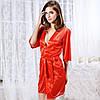 Сексуальный халатик с кружевом красного цвета
