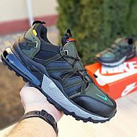 Мужские кроссовки в стиле Nike Air Max 270 Bowfin, ткань, кожа, пена, черные с зеленым 41 (стелька 26 см)