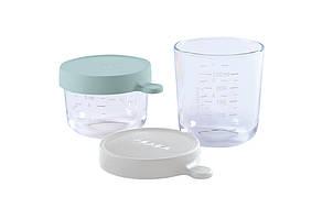 Набор из двух стеклянных контейнеров для хранения Beaba (150 мл + 250 мл) - зеленый/серый, арт. 912802