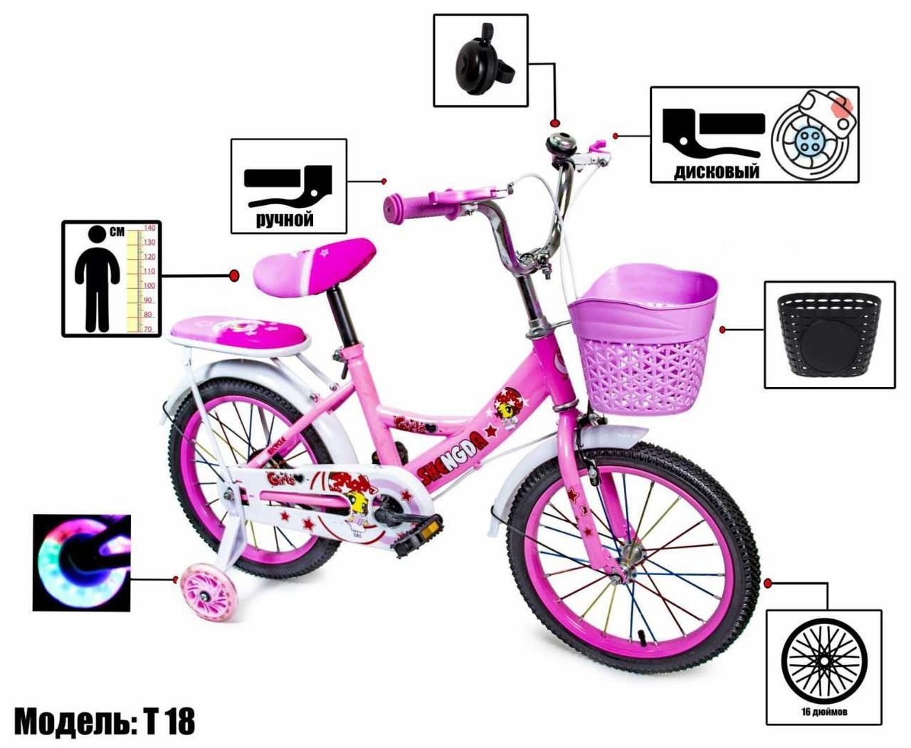 Велосипед детский16 Shengda пастельно-розовый, ручной и дисковый тормоз