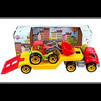 """Іграшка """"Автовоз з трактором ТехноК"""", арт.3916   65 х 24 х 21 см"""