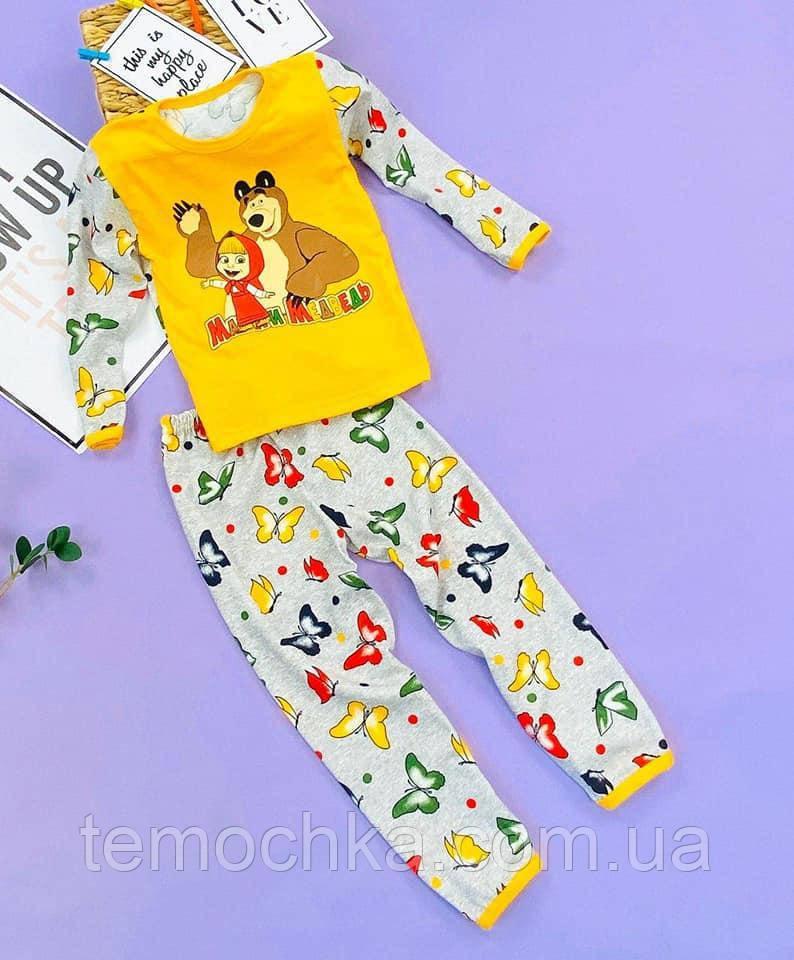 Пижама для дома и сна детская желтая Маша и Медведь