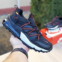 Мужские кроссовки в стиле Nike Air Max 270 Bowfin, ткань, кожа, пена, черные с красным 41 (стелька 26 см)