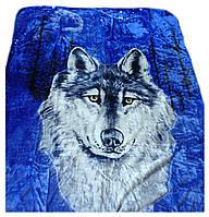 Плед Cappone гладкий (облегченка) 1,5 х 2. Волк на синем .
