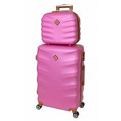 Комплект чемодан + кейс Bonro Next (середній) рожевий