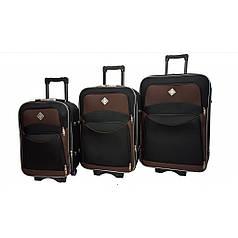Чемодан Bonro Style набор 3 штуки чорно-коричневий