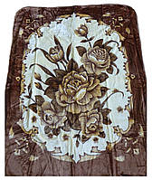 Плед Cappone гладкий (облегченка) 1,5 х 2. Коричневые розы на белом.