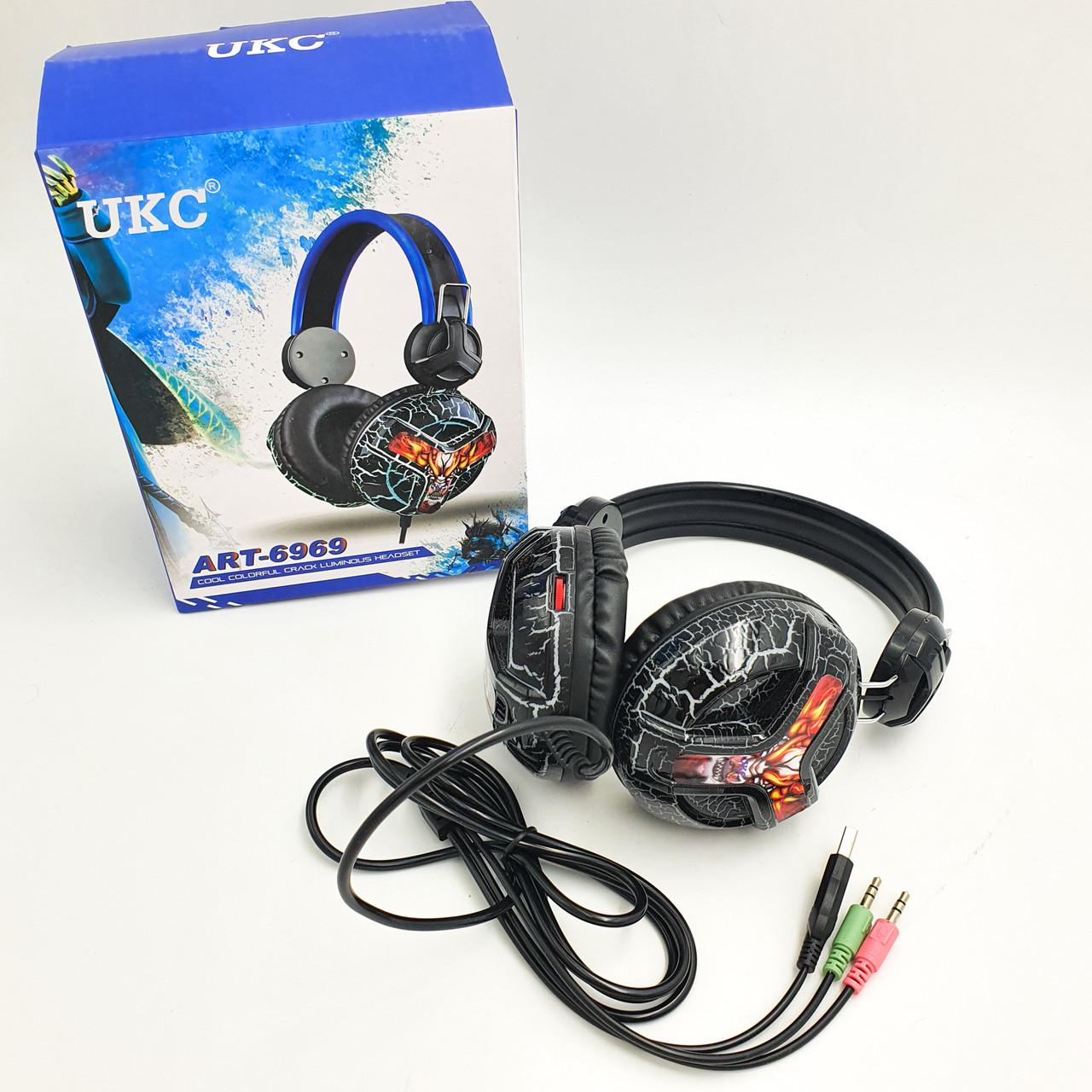 Ігрові навушники з мікрофоном дротова гарнітура UKC 6969 чорний