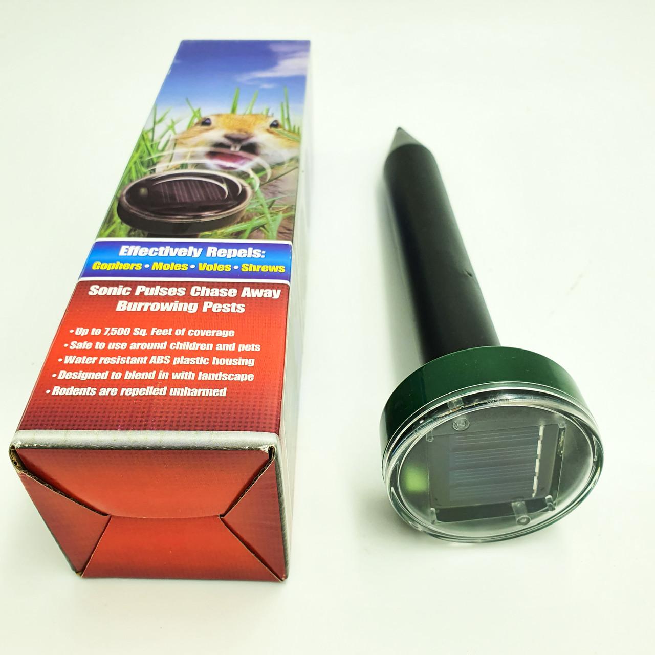 Отпугиватель грызунов кротов и насекомых аккумуляторный на солнечной батареи ультразвуковой и электромагнитный