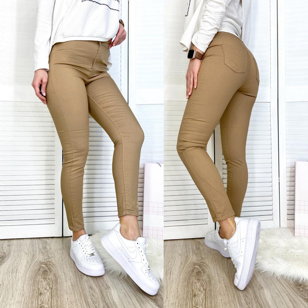 30003-11 темно-бежевые Bikelife джинсы женские летние стрейчевые (S-XL, 8 ед.)