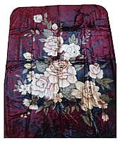 Плед Cappone гладкий (облегченка) 1,5 х 2. Розы на бордовом фоне.