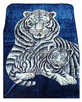 Плед Cappone гладкий (облегченка) 1,5 х 2. Тигры на синем.