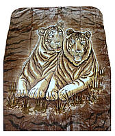 Плед Cappone гладкий (облегченка) 1,5 х 2. Тигры на коричневом фоне.