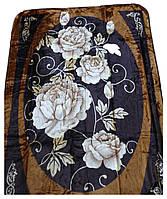 Плед Cappone гладкий (облегченка) 1,5 х 2. Розы на черном фоне.