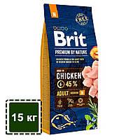 Сухой корм для взрослых собак средних пород (10-25 кг) | Brit Premium Dog Adult M | 15 кг