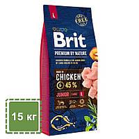 Корм для щенков и молодых собак (1-24 месяцев) крупных пород (25-45 кг) | Brit Premium Dog Junior L | 15 кг