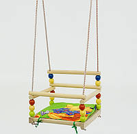 Детские подвесные качели деревянные ПОДАРОК подушечка, БУК  259(или136)