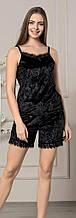 Комплект для дома Пижама с кружевом майка с шортами Мраморный велюр ,размер L Черный