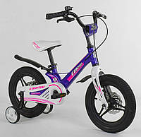 """Детский двухколёсный велосипед 14"""" с магниевой рамой литыми дисками дисковые тормоза Corso MG-77218 фиолетовый"""