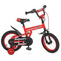 """Велосипед детский двухколесный с дополнительными колесами 14"""" PROFI Driver L14112 Красный"""