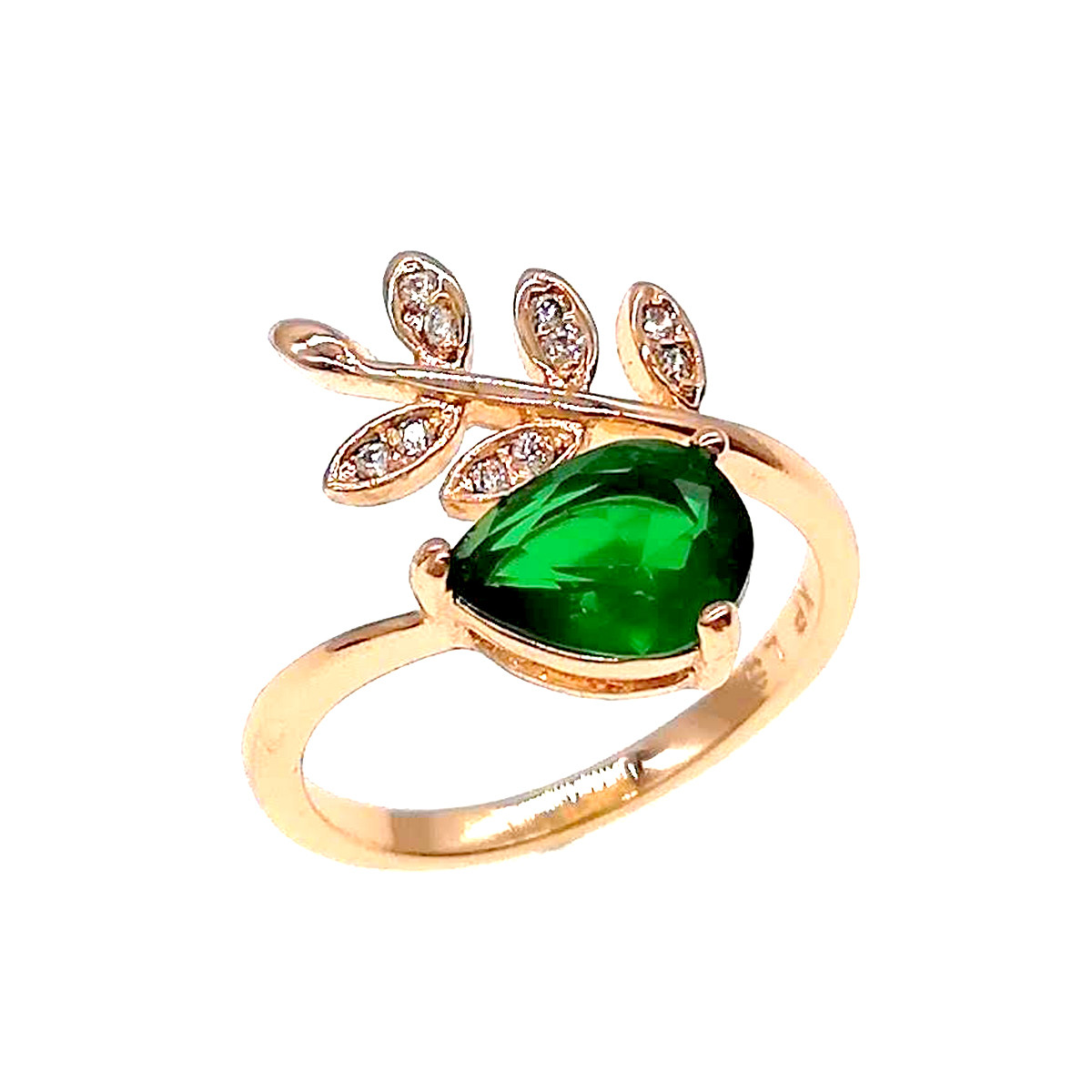 Кольцо Xuping из медицинского золота,  зеленые и белые фианиты, позолота 18К, 11825       (15)