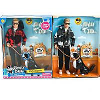 Игровой набор шарнирная кукла Кен с сенсорной собачкой Defa 8429, звук, аксессуары