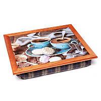 Поднос на подушке BST 710056 44*36 коричневый кофе и круглые печеньки