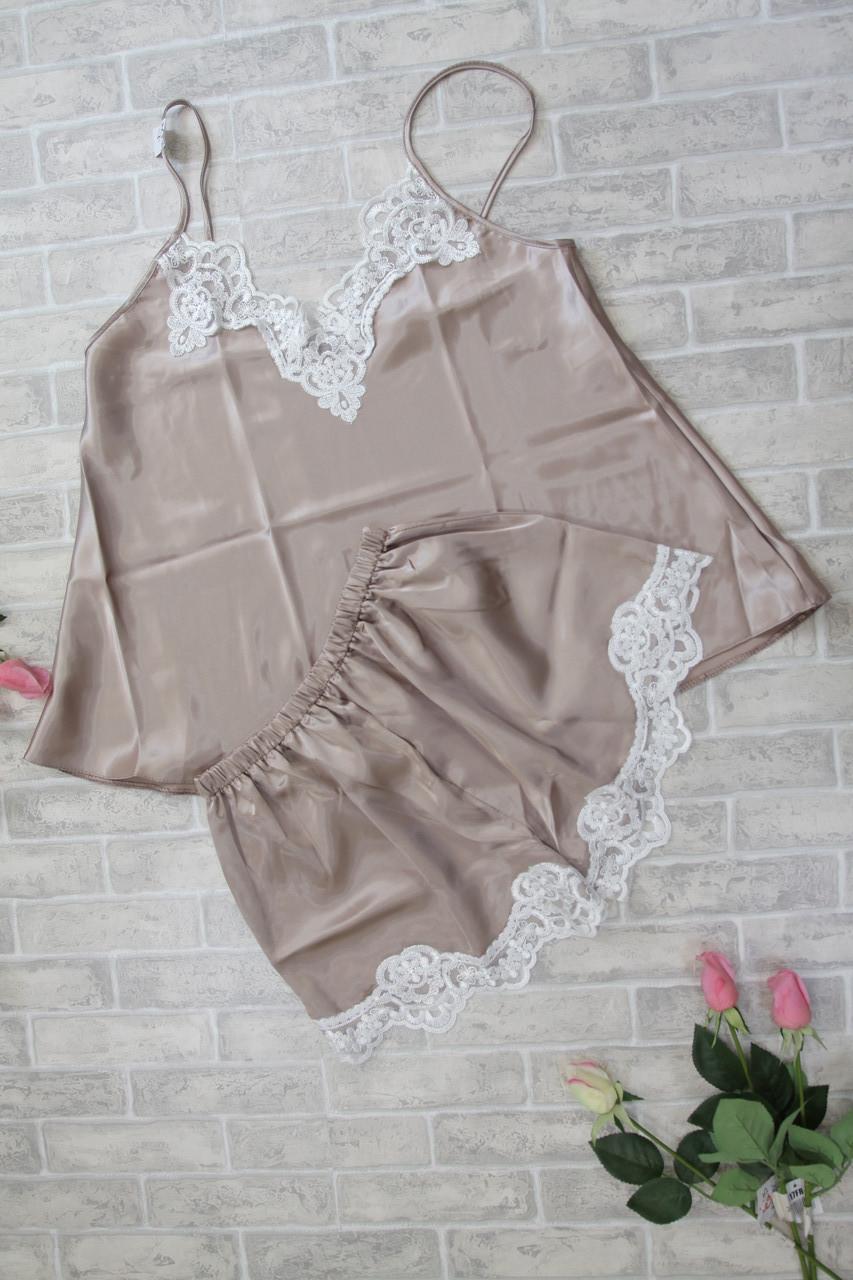 Шелковый ночной комплект для сна на лето с шортами, цвет капучино S M L