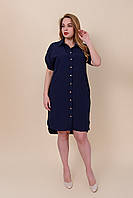 Женское повседневное летнее платье-рубашка больших размеров синего цвета. Размеры 52, 54, 56, 58.  Хмельницкий, фото 1