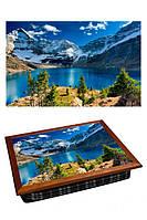 Поднос на подушке BST 040375 44*36 коричневый горы и озеро