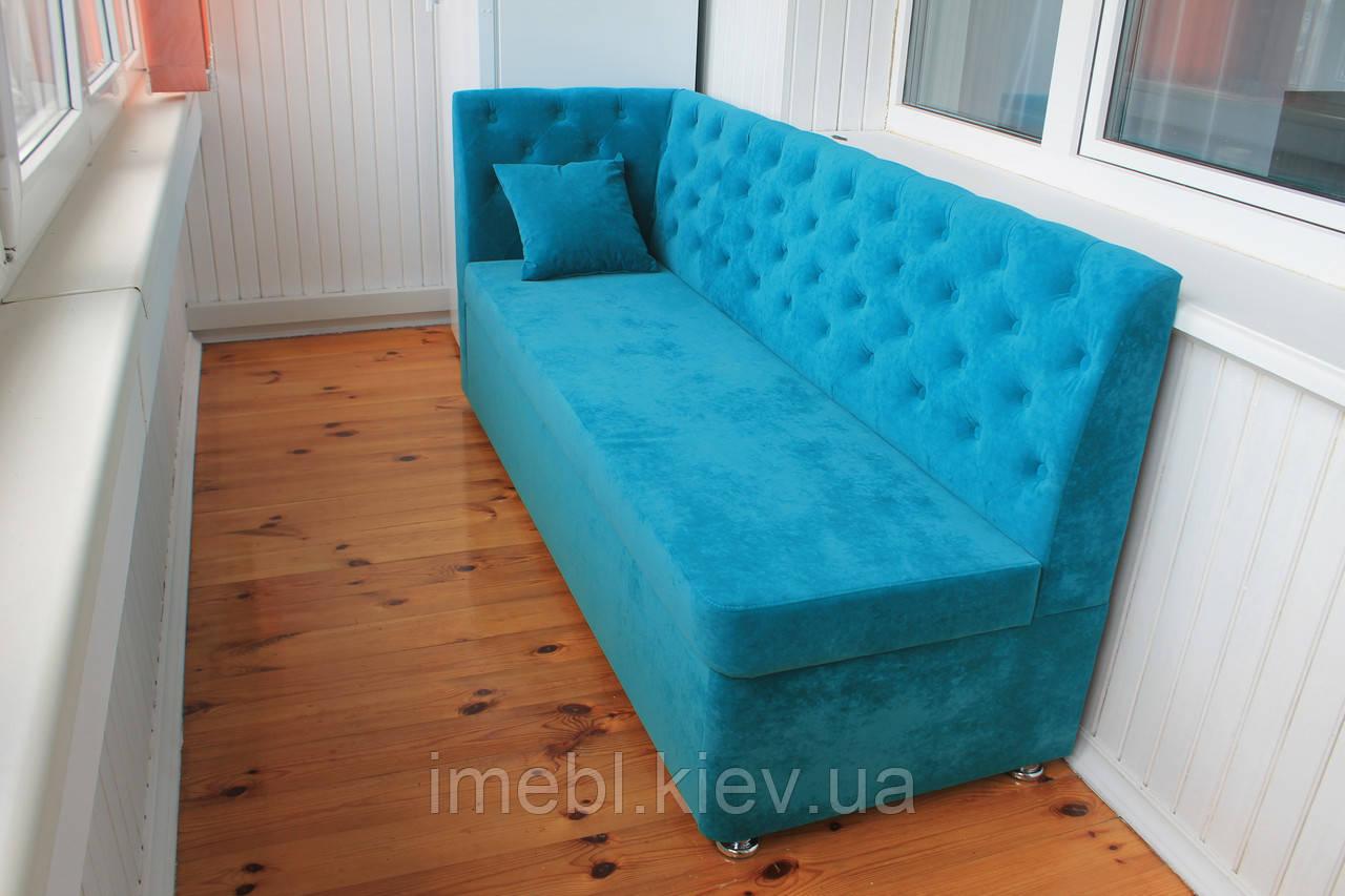 Узкий диван со спальным местом на балкон (Бирюзовый)