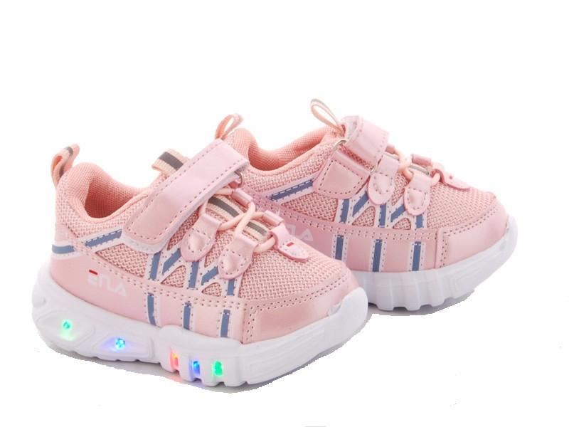 Кроссовки детские розовый цвет для девочки на липучке размеры 21-26 Киев