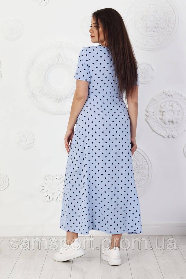 Голубое Платье в горошек, модные, комфортные молодежные платьяодежда Plus Size от 50до 56размера оптом.